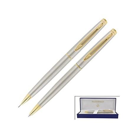Waterman Hemisphere Stainless Steel Gold Trim Pen and Pencil Set